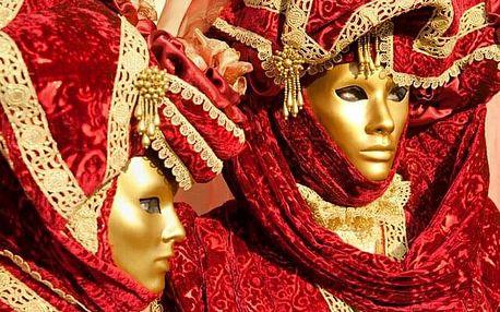 Itálie Benátky karneval 2020 s výlety lodí na ostrovy Murano, Bur..., Benátsko