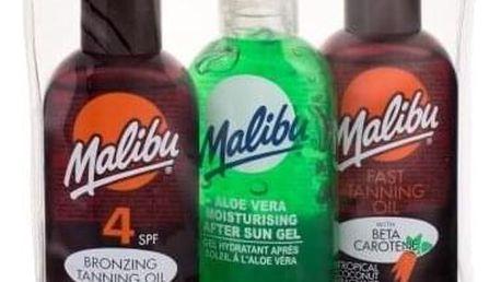 Malibu Bronzing Tanning Oil SPF4 dárková kazeta voděodolná pro ženy olej na opalování SPF4 100 ml + olej pro urychlení opálení 100 ml + gel po opalování Aloe Vera 100 ml