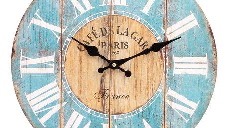 Nástěnné hodiny římské číslice modrá, HLC170025