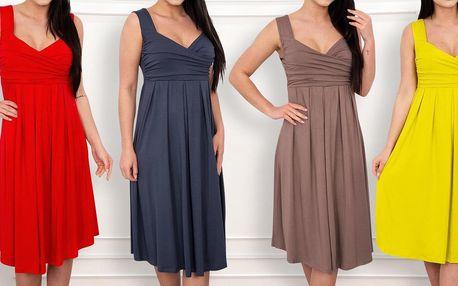 Šik letní šaty: řasený dekolt, široká ramínka