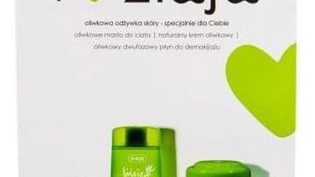 Ziaja Natural Olive dárková kazeta pro ženy denní pleťový krém 50 ml + tělové máslo 200 ml + dvousložkový odličovací přípravek Olive Leaf 120 ml