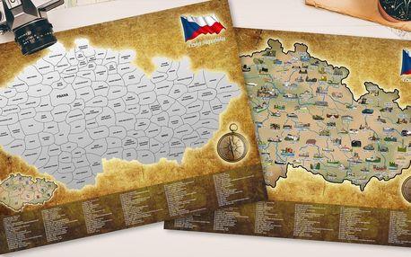 Velká stírací mapa České republiky se 120 místy
