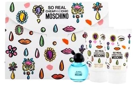 Moschino So Real Cheap and Chic dárková kazeta pro ženy toaletní voda 4,9 ml + sprchový gel 25 ml + tělové mléko 25 ml miniatura