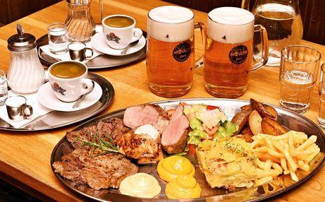 Steak menu pro 2: maso 4 druhů, přílohy i káva