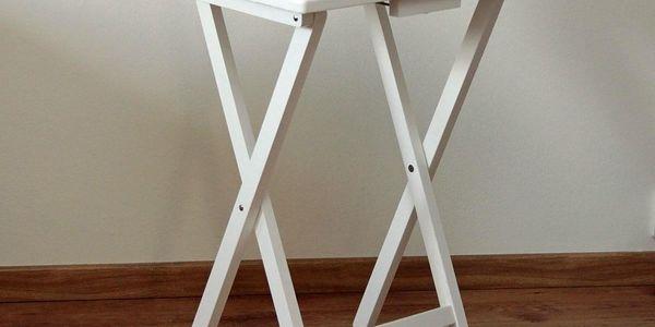 Skládací stolek dřevěný, bílá2