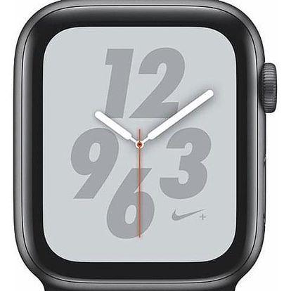 Apple Watch Nike+ Series 4 GPS 44mm pouzdro z vesmírně šedého hliníku - černý provlékací sportovní řemínek Nike (MU7J2HC/A)