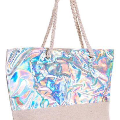 Fashion Icon Dámská plážová taška se stříbrným svrškem