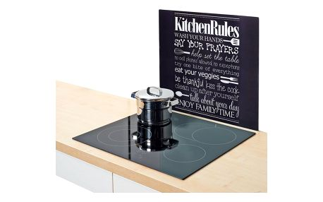 Ochranný skleněný panel KITCHEN RULES na sporáky - velká, ZELLER