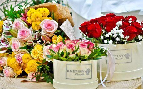 Flower boxy s růžemi nebo růžovo-žlutý pugét