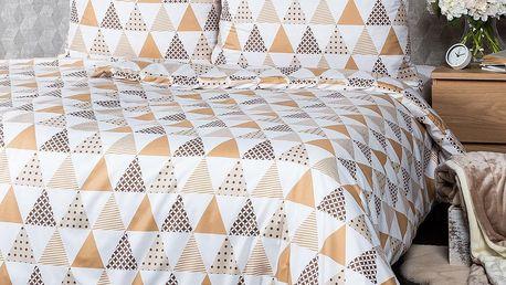 4Home Ložní povlečení Triangl béžová micro, 140 x 220 cm, 70 x 90 cm