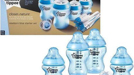 TOMME TIPPEE Sada kojeneckých lahviček C2N s kartáčem – modrá