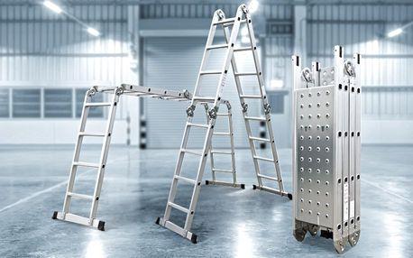 Multifunkční hliníkové štafle s podlážkou