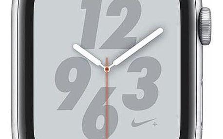 Apple Watch Nike+ Series 4 GPS 44mm pouzdro ze stříbrného hliníku - sněhově bílý provlékací sportovní řemínek Nike (MU7H2HC/A)