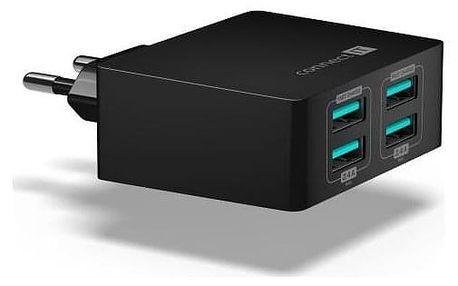 Connect IT Fast Charge 4x USB, 4,8A s funkcí rychlonabíjení černá (CWC-4010-BK)