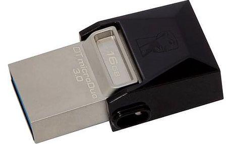 USB Flash Kingston DataTraveler Micro Duo 3.0 16GB OTG MicroUSB/USB 3.0 černý (DTDUO3/16GB)