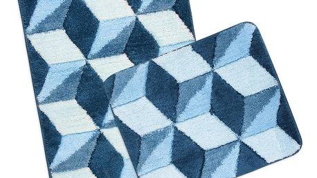 Bellatex Sada koupelnových předložek Ultra Modrá krychle,60 x 100 cm, 60 x 50 cm