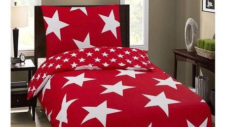 Jahu Bavlněné povlečení Premium Stars červená, 140 x 200 cm, 70 x 90 cm
