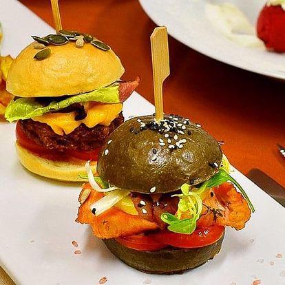 5chodové menu se dvěma druhy burgerů pro dva