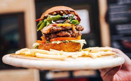Burger menu s hranolky, dipem a nápojem pro 1 i 2