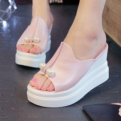 Dámské sandály s umělými perličkami - 4 barvy
