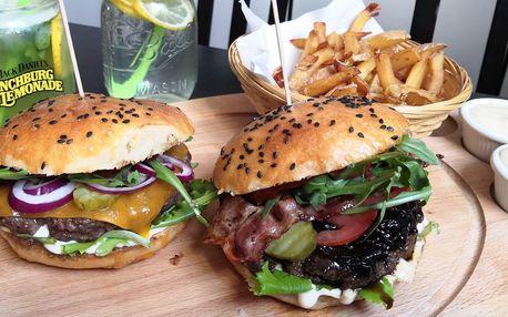 Burger, hranolky a domácí limonáda pro 1 i 2 os.