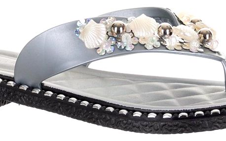 Dámské žabky Modern world s perlami a mušlemi plast QW0010-0812