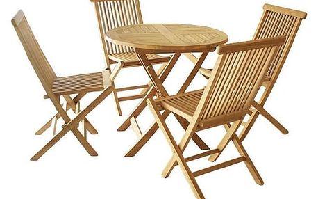Divero Garth 798 Zahradní set z týkového dřeva, 1 stůl + 4 židle