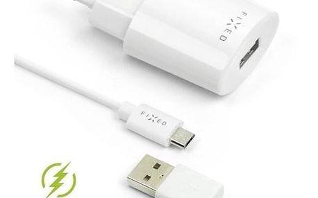 FIXED 1x USB, 2,4A + micro USB kabel bílá (FIXC-UM-WH)