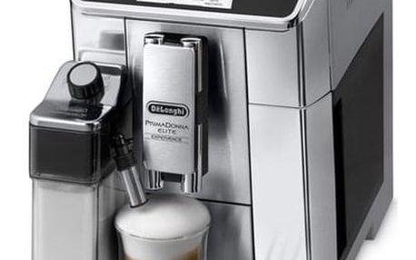 Espresso DeLonghi PrimaDonna Elite ECAM 650.85.MS stříbrné + dárky 2x Káva zrnková DeLonghi Kimbo Classic 250g + Příslušenství DeLonghi Skleničky espresso v hodnotě 358 Kč + DOPRAVA ZDARMA