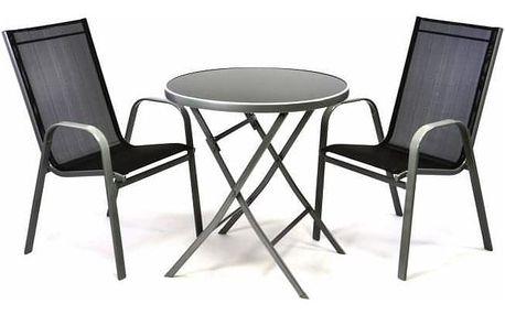 Garthen 35094 Zahradní set dvou křesel a skleněného stolku se sklopnou deskou