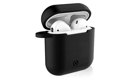 Celly Aircase pro Apple AirPods + nástavce do uší černé (AIRCASEBK)