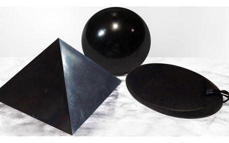 Přívěsek, koule i pyramida z leštěného šungitu