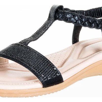 Feixu Dámské sandály s krystalky s měkkou stélkou umělá kůže ZX0047-1102
