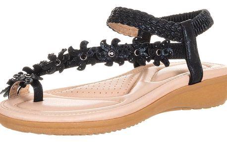 Feixu Dámské sandály Kytky s krystalky s měkkou stélkou
