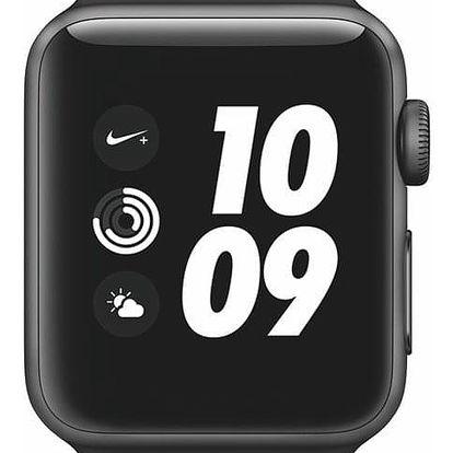 Chytré hodinky Apple Watch Nike+ Series 3 GPS 38mm pouzdro z vesmírně šedého hliníku - antracitový/černý sportovní řemínek Nike (MTF12CN/A)