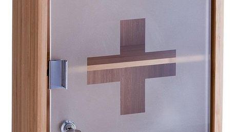 Kovová lékárnička, skříňka na léky,100% bambus - 2 úrovně, ZELLER