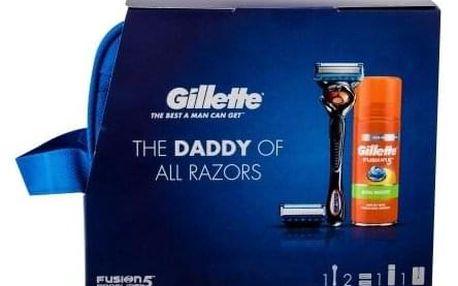 Gillette Fusion Proglide dárková kazeta pro muže holicí strojek s jednou hlavicí 1 ks + náhradní hlavice 2 ks + gel na holení Fusion5 Ultra Sensitive 75 ml + kosmetická taška