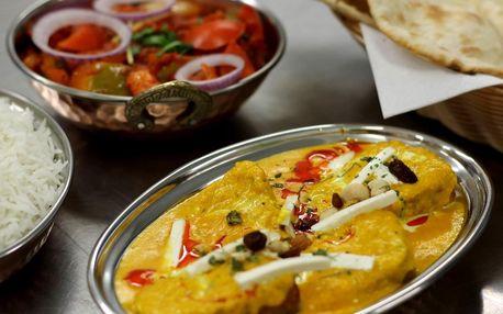 Indické menu podle výběru a lahev vína pro dva