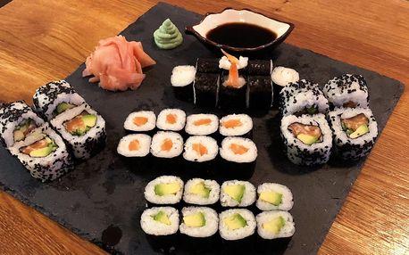 Sety s 24–50 ks sushi i s miso polévkami a závitky