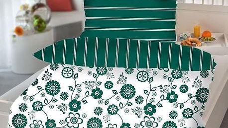 Jahu Barbara Flower zelená bavlna povlečení 140x200 70x90