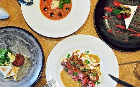 Špičkové 4chodové menu s gazpachem a roastbeefem
