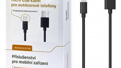 Kabel Aligator Micro USB na USB, 1m, prodloužená koncovka, černá