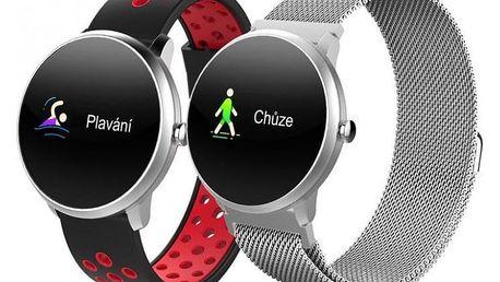 Chytré hodinky iGET Fit F4, 2 řemínky, stříbrná