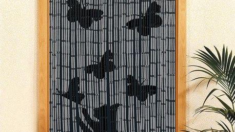 Bambusový závěs Kočka a motýli , 90x200 cm, WENKO