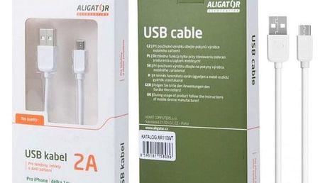 Kabel Aligator Lightning na USB, 1m, bílá