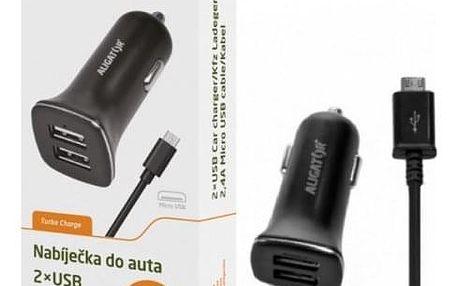 Autonabíječka Aligator 2xUSB 2,4A +kabel Micro USB, černá