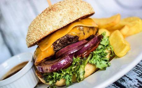 Burger s hovězím nebo trhanými vepřovými žebry