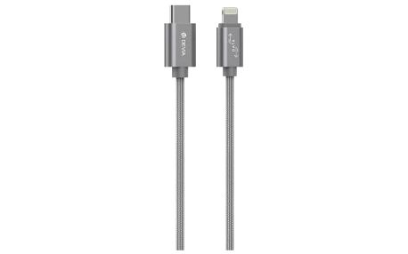 Kabel Devia USB Typ C na Lightning, 1m, šedá