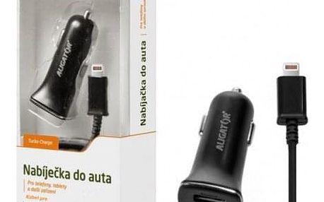 Autonabíječka Aligator 2xUSB 2,4A +kabel Lightning, černá