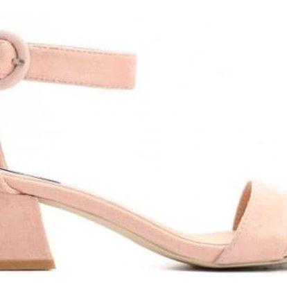 Růžové sandály na podpatku Haka 9253